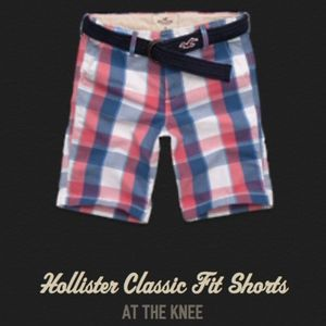 Hollister Co. Men's Classic Fit Red Plaid Shorts